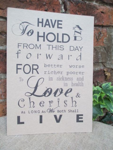 Wedding Vows Venue Sign A4 Size Poster Shabby Chic Kraft Card